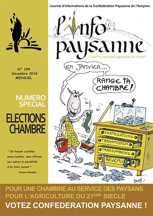 Info Paysanne numéro 194 Spécial élections chambre 2018